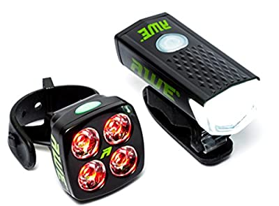 AWE® AWEBright™ USB Rechargeable Bicycle Light Set 340 LUMENS EXTREMELY BRIGHT from AWE®