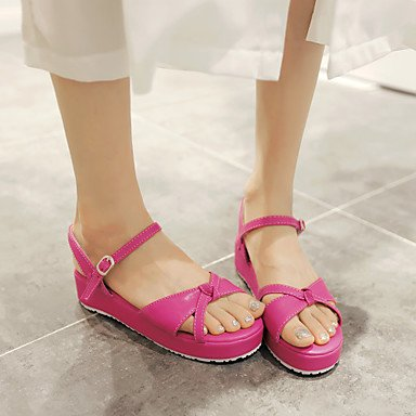 LvYuan Damen-Sandalen-Büro Kleid Lässig-PU-Flacher Absatz Keilabsatz-Andere-Lila Rot Weiß Purple