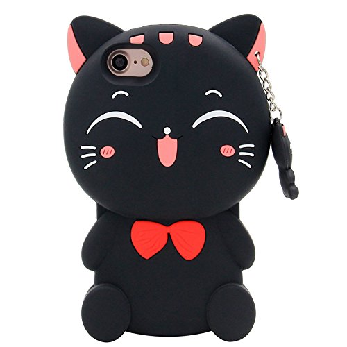 Iphone 7 Case , KoalaGroup® 3d trendy vertical silicone sleeve body Cactus/ Pikachu /Pineapple /drop resistance protective sleeve case cover for iphone 7 (Hold bear) Black cat