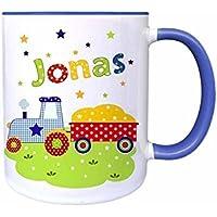 Tasse, Traktor, mit Namen, für Kinder, Geschenk, Becher, Kindertasse, Rosa, Blau, Grün, für die Spülmaschine geeignet