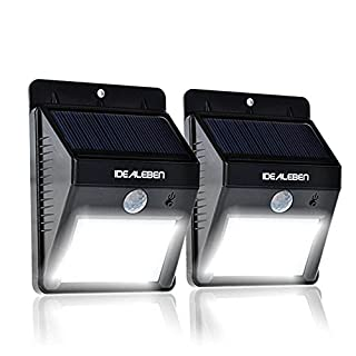 2 Pack Idealeben [8 Brighter Nodes] LED Solar Light Motion Sensor Light --Wireless Solar Security Light / Outdoor Solar Energy Welcome Wall Light