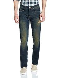 Louis Philippe Mens Slim Fit Jeans (8907545944382_LRDN517R04448_82W x 34L_Dark Blue Solid )