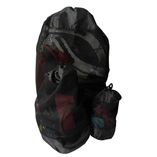 3 Stück Netz-gepäck-set (KurtzyTM Wäschesäcke Sportbeutel 3 Stück schwarz mit Kordelzug Netzstoff aus Polyester - Sport, Wäschebeutel Zuziehbeutel Wäschenetz Waschbeutel)