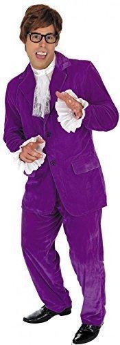 ustin Powers Man of Geheimnis Spion TV Gigolo Kostüm Kleid Outfit M-XL - Lila, X-Large (Spion Kostüme)