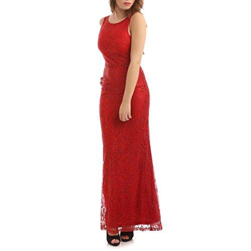 La Modeuse - Robe de soirée longue à paillettes marquée à la taille avec doublure en tissu couleur rouge Rouge