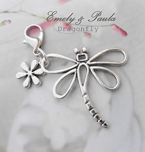 Charm Libelle Blume Karabiner Anhänger