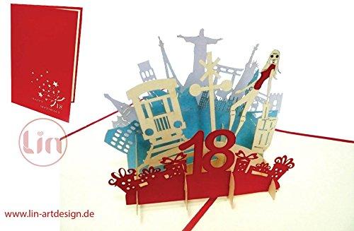 LIN POP UP 3D Glückwunschkarte Geburtstagskarte, 18. Geburtstag 18 party, Mädchen, rot #17 #