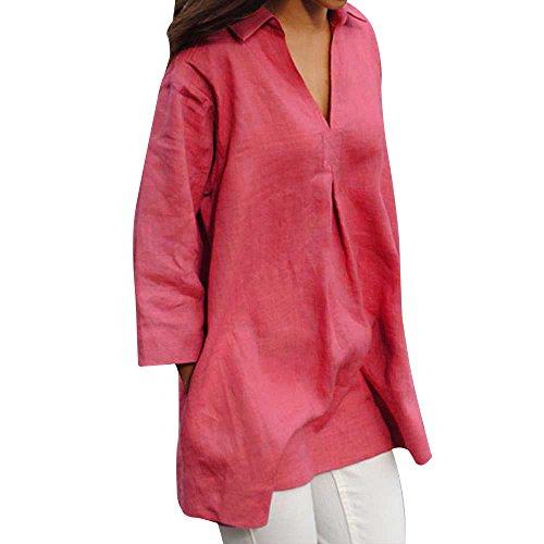 VEMOW Sommer Elegante Damen Frauen Herbst Feste Blusen Beiläufige Lose V-Ausschnitt Tops Casual Täglichen Partei Strand Geschäft Handgelenk Sleeve Shirts Bluse(Hot pink, EU-46/CN-2XL)