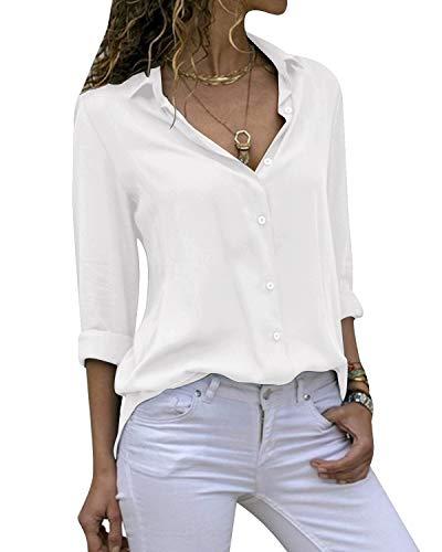 Cassiecy Damen Bluse Chiffon Elegant V-Ausschnitt Langarm Casual Oberteile Hemd Lose Langarmshirt Tops (S, Weiß) -