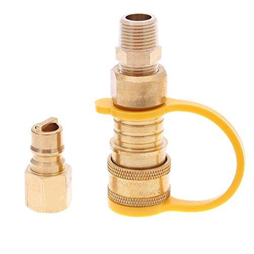 Hifuture 3/20,3cm Erdgas Quick Connector Kit Messing Einfach zu installieren Shut Off Ventil und Full Flow Plug Erdgas und Propan Adapter für Niederdruck Propan/Gas Systemen -