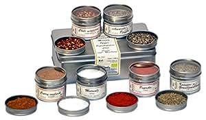 direct&friendly Bio Gewürzset mit Chili, Curry, schwarzem Pfeffer, Meersalz, Paprika edelsüß und Kräuter- und Gewürzmischung