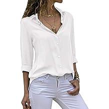 4584f57ed202 Cassiecy Chemisier Femme Mode Manche Longue Casual Col V Tunique Top Haut  Blouse