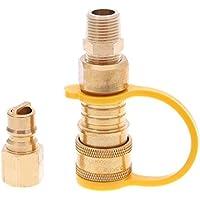 Hifuture - Kit de conectores rápidos de gas natural de 3/8 pulgadas (latón, fácil de instalar, válvula de apagado y enchufe de flujo completo, adaptador de gas natural y propano para sistemas de propano/gas de baja presión)