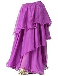Angela Bauchtanz-Chiffon-langer Rock 3 Ebenen Spiral Rock Bollywood Kostüm Kette Hip-Verpackungs-Edelstein-Bauchtanz-Gürtel Gesichts-Schleier mit goldenen Perlen (Einheitsgröße, Rock ohne Gürtel lila)