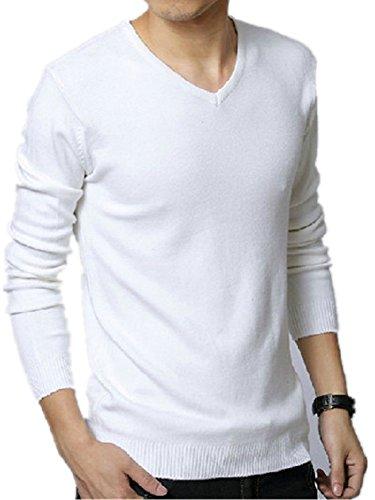 BOMOVO Herren V-Ausschnitt Strickpullover Pullover weatshirt Weiß