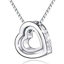 MARENJA Cristal-Collar para Mujer Doble Corazón Chapado en Oro Blanco y Cristal, 40-45cm