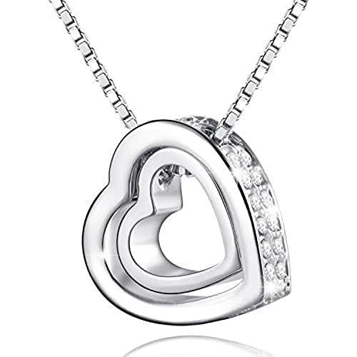 ofertas para el dia de la madre MARENJA Cristal-Collar para Mujer Doble Corazón Chapado en Oro Blanco y Cristal, 40-45cm