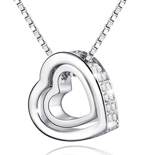 MARENJA Cristal-Collar para Mujer Doble Corazón Chapado en Oro