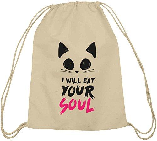 Shirtstreet24, Halloween - I Will Eat Your Soul, Baumwoll natur Turnbeutel Rucksack Sport Beutel Natur