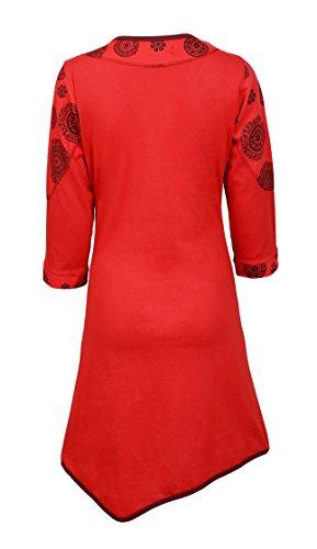 Manches longues à encolure en V robe des femmes Avec broderie de fleurs Rouge