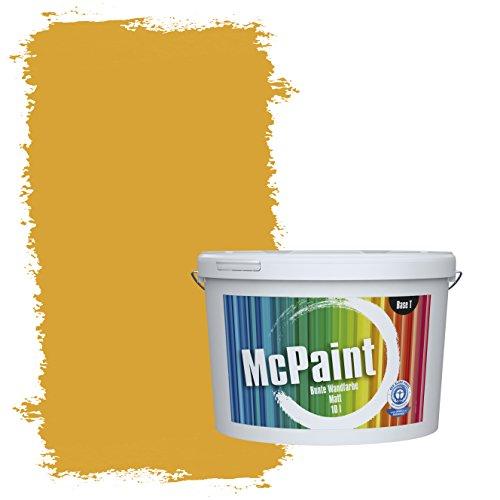 McPaint Bunte Wandfarbe matt für Innen Bernstein 10 Liter - Weitere Gelbe Farbtöne Erhältlich - Weitere Größen Verfügbar