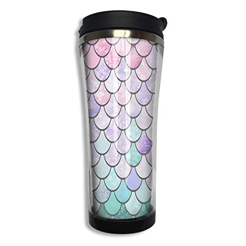 Vacuum Insulated Stainless Steel 420 ML Colorful Mermaid Fish Scales Coffee Mug Double Wall Vacuum Insulated Cup For Travel Home Office School Men,Women