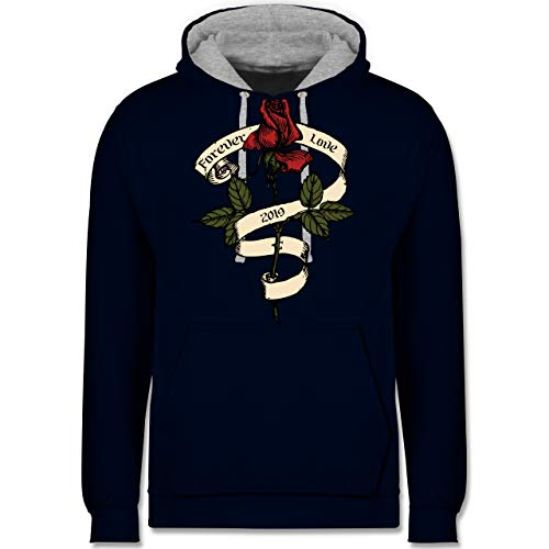 Shirtracer Rockabilly - Forever Love 2019 - XS - Navy Blau/Grau meliert - JH003 - Kontrast Hoodie - Black Forever Hoody Sweatshirt