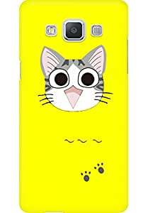 AMEZ designer printed 3d premium high quality back case cover for Samsung Galaxy A5 (Cute Cat Happy Yellow)