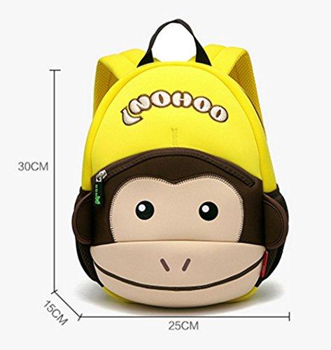 Impermeabile bambino zaino bambini zaini scuola borsa zaino bambini Toddler zaino resistente neoprene 3D Cartoon scimmia Pink