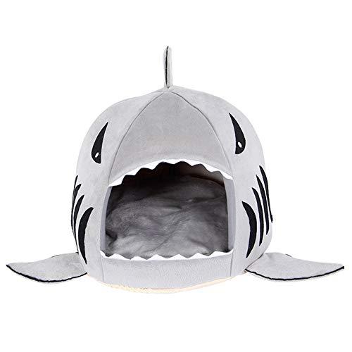 Yililay Mascota Haus Colorfulhouse tiburón casa Redonda del Perrito de la Cama con Mascota Estera de la Cama, pequeña y Medianas Empresas (pequeña) Gris, Suministros de Mascotas