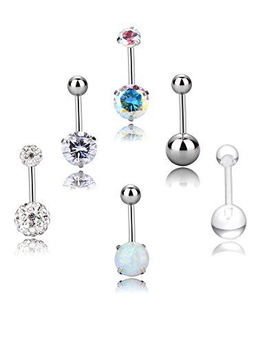 6 Pieces 14 Gauge Belly Button Rings Stainless Steel Navel Rings Set Cubic Zirconia Body Piercing for Women Girls, 6 Styles