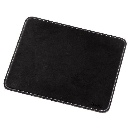 Hama Mauspad (22 x 18 cm, Office Mousepad in Leder Optik, Optimale Gleitfähigkeit, Rutschfeste Unterseite) schwarz (Unterseite Rutschfeste)