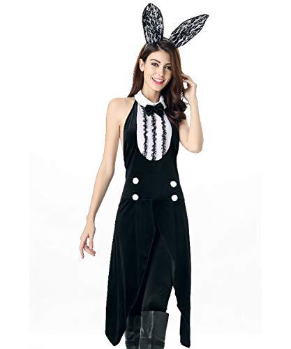 (Frauen Erwachsene Fancy Party Halloween Kostüm Tuxedo Bunny Sexy Ärmellos Rückenfreies Halfter Tunika Kleid)