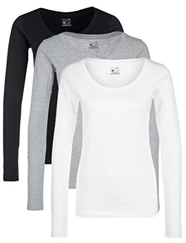 Berydale Damen für Sport & Freizeit, Rundhalsausschnitt Langarmshirt, 3er Pack, Mehrfarbig (Schwarz/Weiß/Grau), Small -