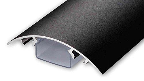 TV Design Aluminium Kabelkanal in schwarzmatt Feinstruktur lackiert in verschiedenen Längen von ALUNOVO (Länge: 140cm)