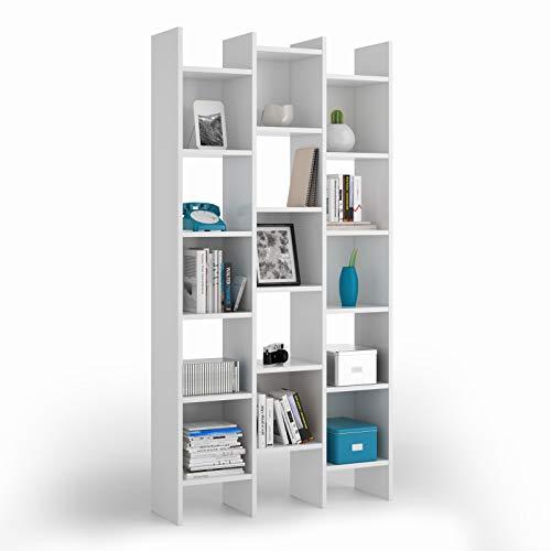 Esidra Libreria Design, bifacciale, 3 colonne, Laminato Bianco cm. 96 x 192 x 26 cm