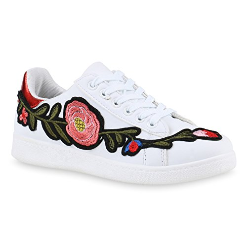 Damen Sneakers Blumen Stickereien Sportschuhe Schnürer Weiss Rot