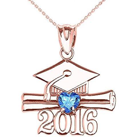 Donne Collana Pendente 10 Ct Rosa Oro Cuore Dicembre Birthstone Azzurro Zirconia Classe Del 2016 Graduazione (Viene Fornito Con Una Catena Da 45cm)