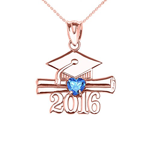 Donne Collana Pendente 14 Ct Rosa Oro Cuore Dicembre Birthstone Azzurro Zirconia Classe Del 2016 Graduazione (Viene Fornito Con Una Catena Da 45cm)