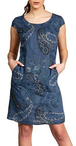 Caspar SKL022 Damen Sommer Leinenkleid mit Paisley Print bis Größe 50, Größe:L - DE40 UK12 IT44 ES42 US10, Farbe:Jeans blau (Frauen Denim-kleid Der)