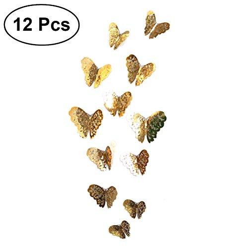 VORCOOL 12 Pcs 3D Papillon Autocollants Stickers Muraux Artisanat Papillons Amovible Stickers Muraux Art pour Chambre Salon Kiechen Murales
