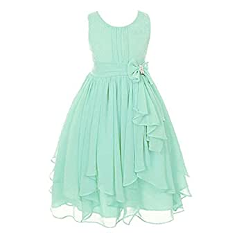 Free fisher Sleeveless Asymmetrical Chiffon Dress, Mint Green, 3-4 Years