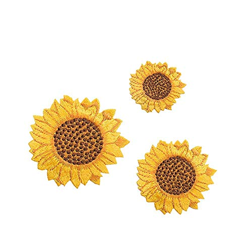 BIGBIGWORLD 3 Parches Girasoles Manualidades, Tela