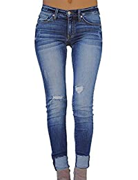b8c8be691 STRIR Jeans Skinny Push-Up Mujer Vaqueros Rotos