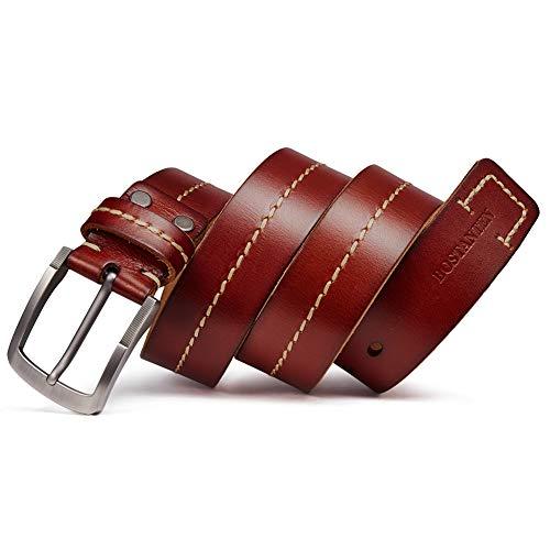 Bostanten Cinturón Cuero para Hombre Cinturones de hebilla Cinturón Vintage Piel de búfalo Cinturón Adecuado para jeans y trajes 3.8 cm Ancho Marrón