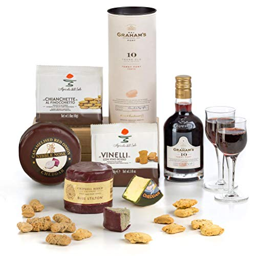 Hay Hampers Port, Stilton & Cheddar Cheese Christmas Gift - Free UK Delivery