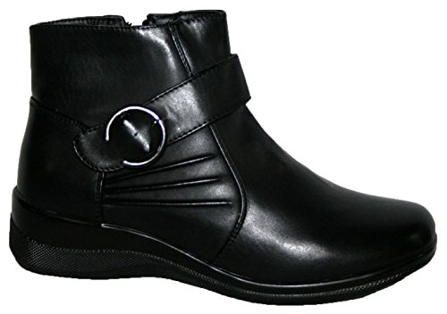 Leichte smarte zwanglose Damen-Stiefeletten, seitlicher Reißverschluss, Schwarz black/buckle