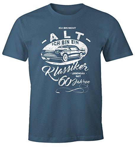 MoonWorks Herren Geschenk T-Shirt zum Geburtstag Ich Bin Nicht alt Ich Bin EIN Klassiker Auto Retro Oldtimer Spruch 30-90 Jahre 60 Denim L