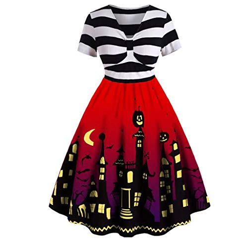 Himmel Kostüm Party Hölle Und - LOPILY Halloween Kostüm Damen 3D Druck Halloween Kleid Gestreiftes Abendkleid Elegant Halloween Kostüm Damen Sexy Gruseliger Kürbis Partykleid für Halloween Party (Rot, 38)