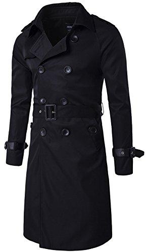 YYZYY Herren Zweireihiger Lässiger mit Gürtel schlank Langer Mäntel Jacken Trenchcoat (EU/DE Medium, Schwarz) Belted Trench Jacke